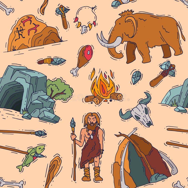 Carattere neandertaliano primigenio di vettore primitivo della gente e fuoco antico del cavernicolo nell'illustrazione della cave royalty illustrazione gratis