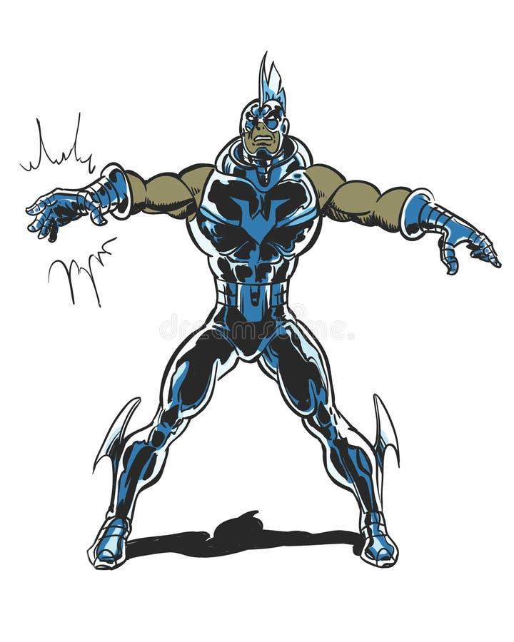 Carattere nero corazzato dell'eroe illustrato libro di fumetti illustrazione vettoriale