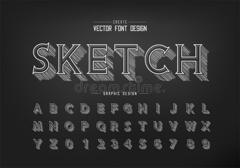 Carattere ombra sketch matita e vettore alfabetico, carattere carattere lettera e numero di carattere dell'idea del gesso illustrazione di stock
