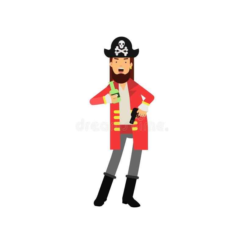Carattere piano del fumetto della bottiglia barbuta della tenuta di capitano del pirata di rum e della pistola del flintlock in m royalty illustrazione gratis