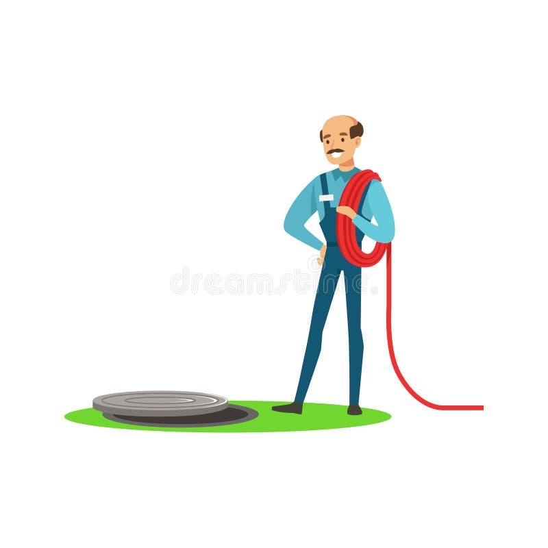 Carattere professionale dell'uomo dell'idraulico che stnding accanto ad una botola della fogna, scandagliante l'illustrazione di  illustrazione di stock