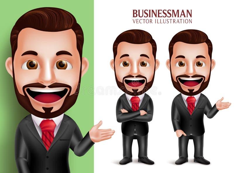 Carattere professionale di vettore dell'uomo di affari che sorride in abbigliamento corporativo attraente illustrazione vettoriale