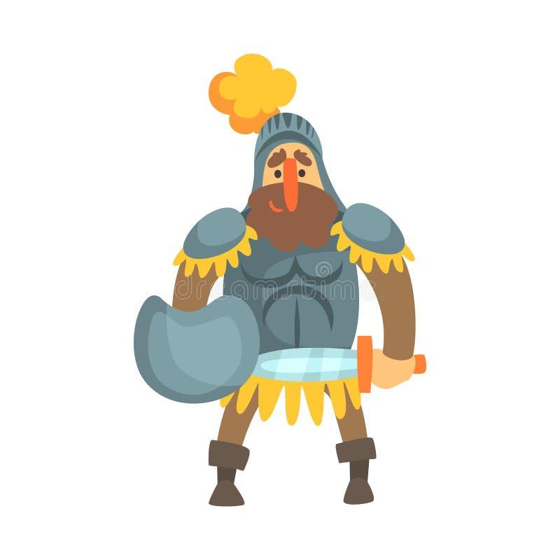 Carattere puerile del fumetto di fiaba della gonna di Roman Knight With Shield In illustrazione vettoriale