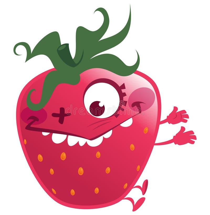 Carattere rosa della frutta della fragola del fumetto che fa un fronte pazzo illustrazione vettoriale