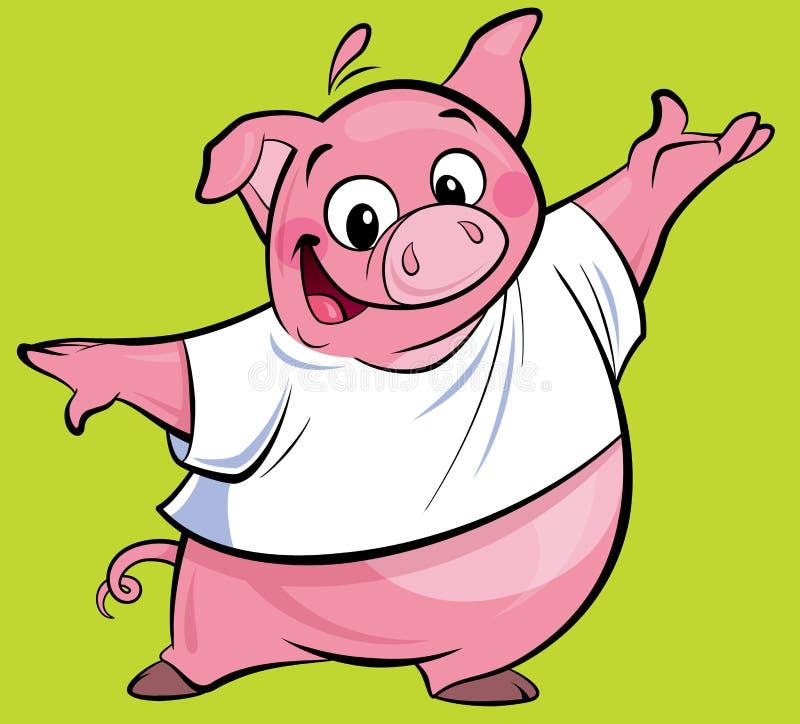 Carattere rosa felice del maiale del fumetto che presenta portando una maglietta illustrazione di stock