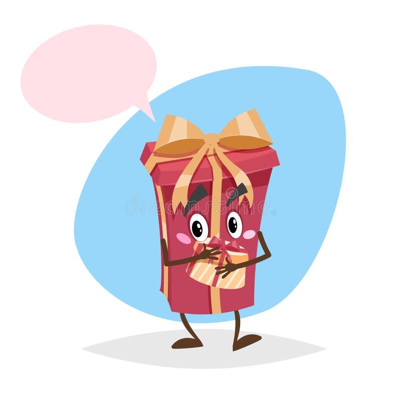 Carattere rosso del contenitore di regalo del fumetto con il nastro e l'arco goldish Contenere passa un altro contenitore di rega royalty illustrazione gratis