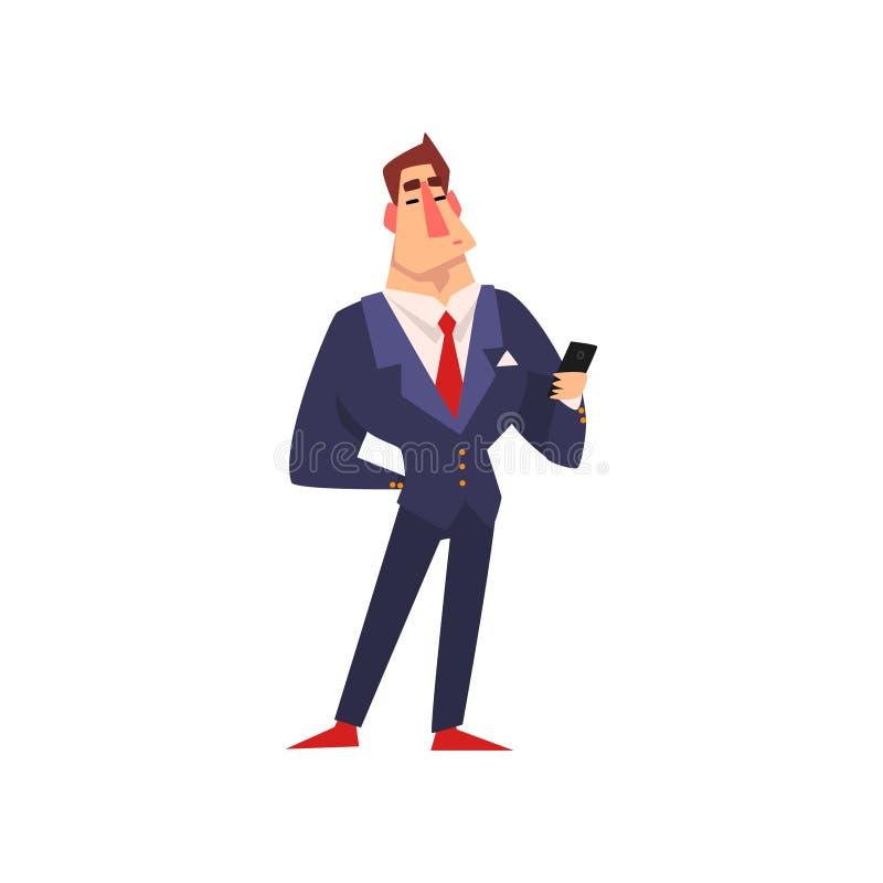 Carattere sicuro di sé dell'uomo d'affari in vestito blu con l'illustrazione di vettore del fumetto dello smartphone su un fondo  royalty illustrazione gratis