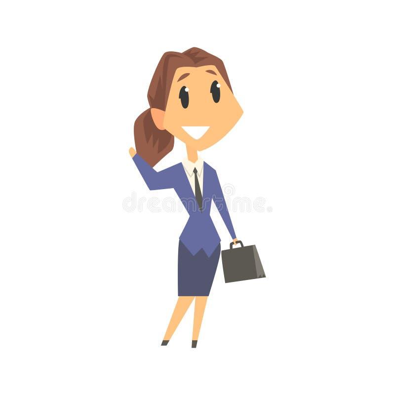 Carattere sorridente della donna di affari nell'usura convenzionale che sta con la cartella e l'ondeggiamento della sua mano, uom illustrazione di stock