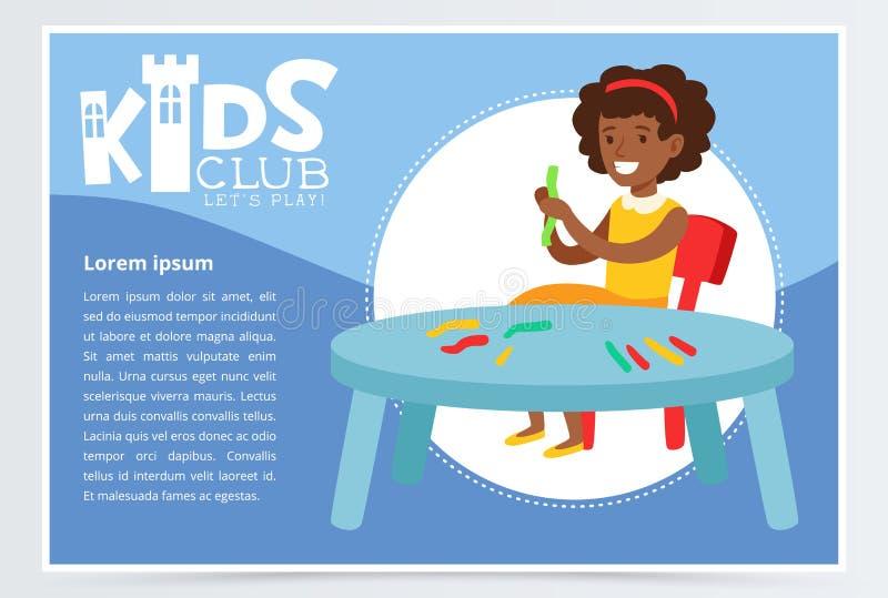 Carattere sorridente della ragazza impegnato nella modellistica dell'argilla Il manifesto blu creativo per i bambini bastona, scu illustrazione di stock