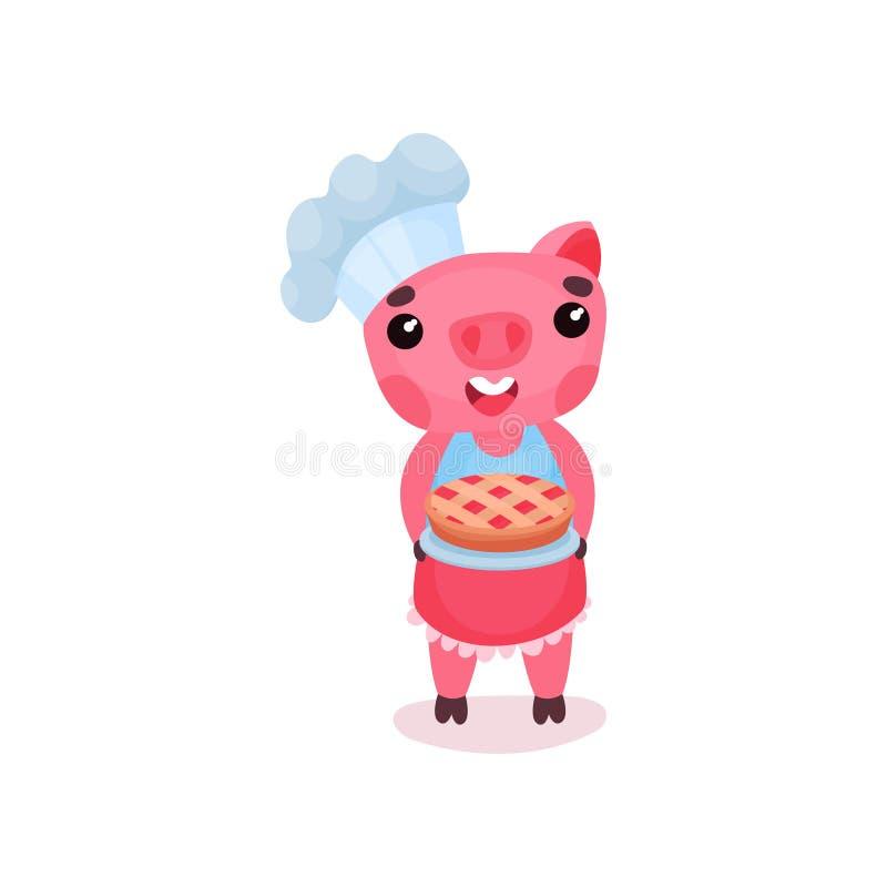 Carattere sorridente sveglio del cuoco unico del maiale che tiene di recente torta al forno, illustrazione animale di vettore di  illustrazione di stock