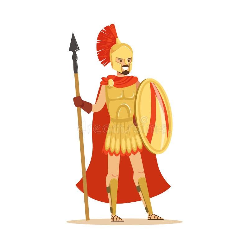 Carattere spartano del guerriero in armatura e capo rosso con lo schermo e la lancia, illustrazione greca epica di vettore del so illustrazione di stock