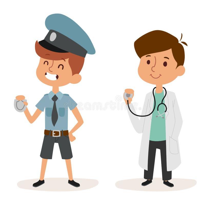 Carattere stabilito del lavoratore dell'uniforme di medico del poliziotto di infanzia della persona dell'illustrazione di vettore illustrazione di stock