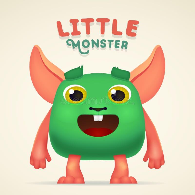 Carattere straniero della creatura di verde sveglio del fumetto con la piccola iscrizione del mostro Coniglio mutante lanuginoso  illustrazione vettoriale