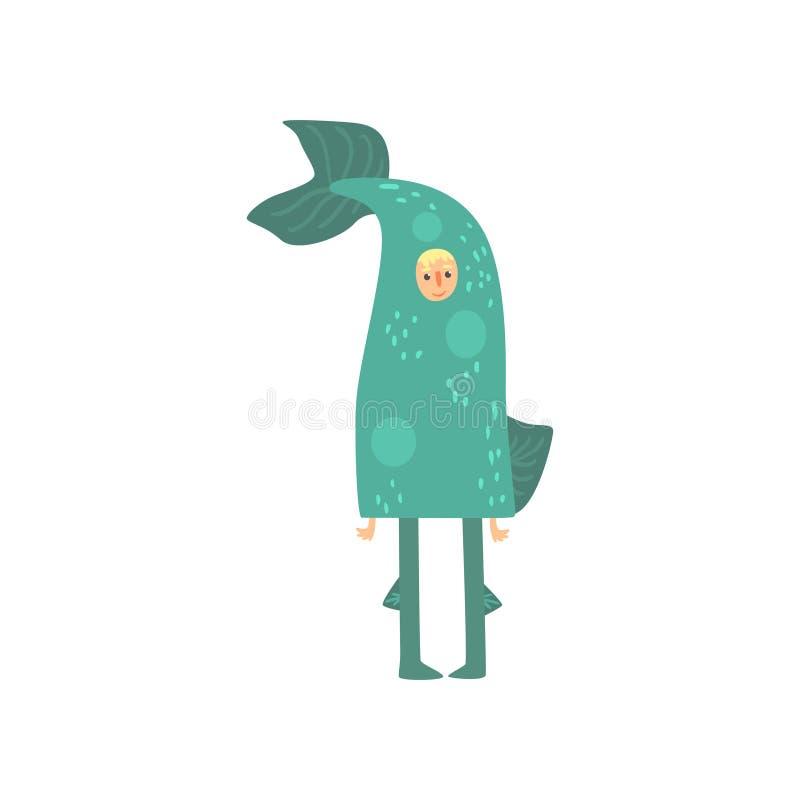 Carattere strano dell'uomo in costume divertente del pesce, travestimento pazzo o costume di carnevale, partito creativo nel fume illustrazione di stock