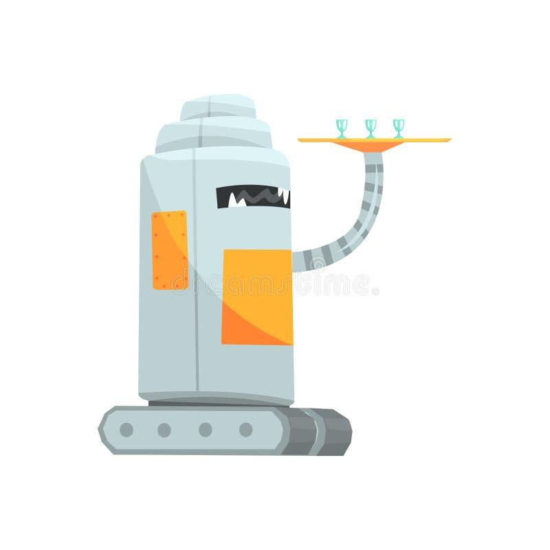Carattere sveglio del cameriere del robot del fumetto con l'illustrazione di vettore del vassoio royalty illustrazione gratis