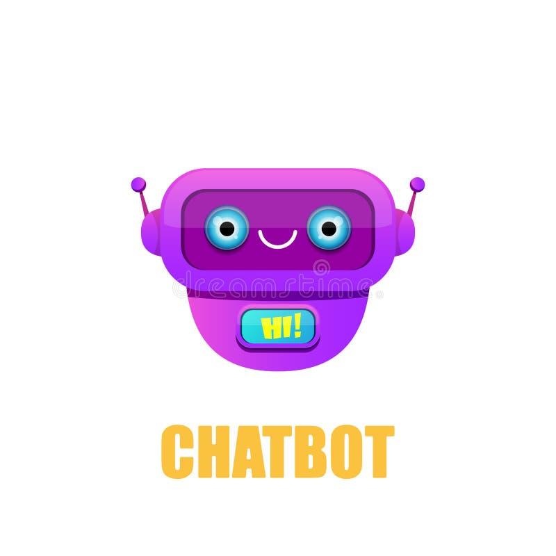 Carattere sveglio del chatbot isolato su fondo bianco Assistente divertente del robot di vettore, bot di schiamazzo, logo del cha illustrazione di stock