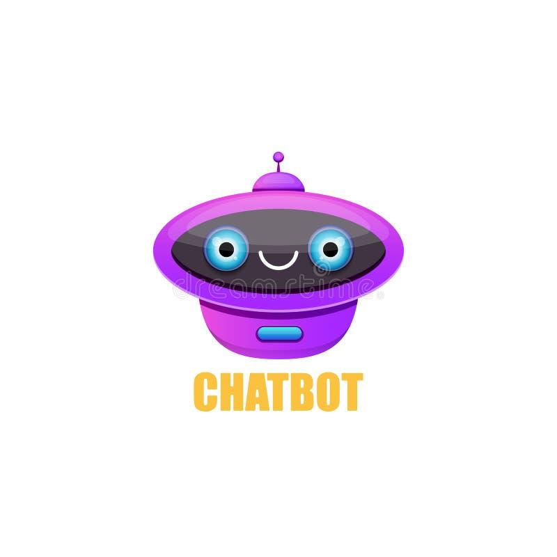 Carattere sveglio del chatbot isolato su fondo bianco Assistente divertente del robot di vettore, bot di schiamazzo, logo del cha royalty illustrazione gratis