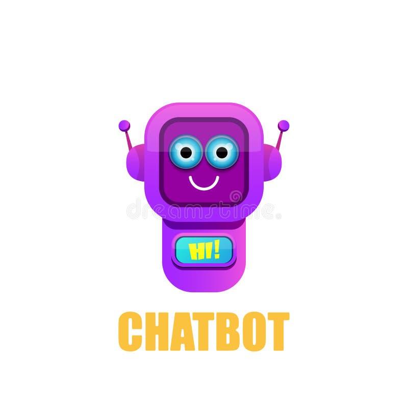 Carattere sveglio del chatbot isolato su fondo bianco Assistente divertente del robot di vettore, bot di schiamazzo, logo del cha illustrazione vettoriale