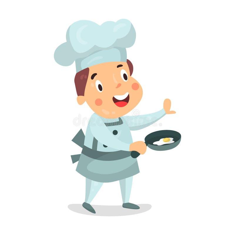 Carattere sveglio del cuoco unico del ragazzino del fumetto che tiene una padella con l'illustrazione delle uova fritte illustrazione vettoriale