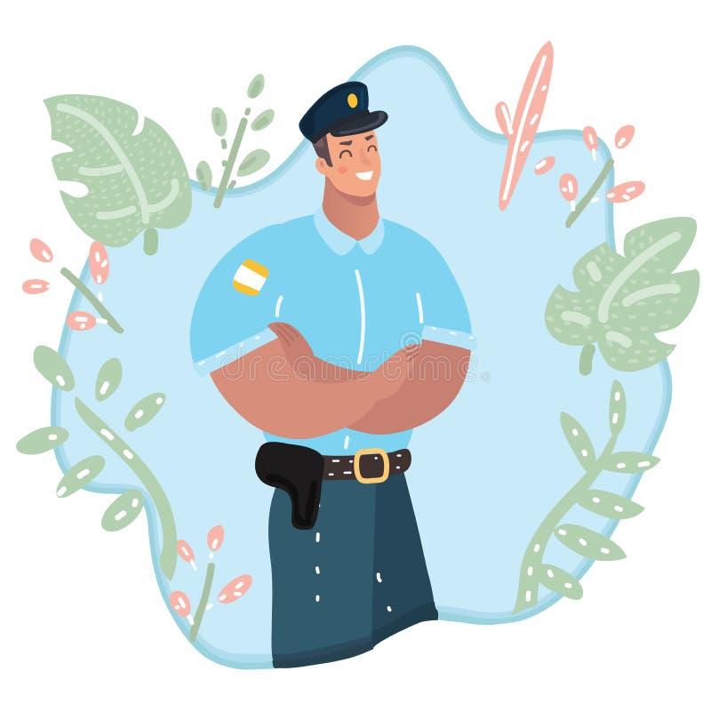 Carattere sveglio del poliziotto, professionale illustrazione di stock