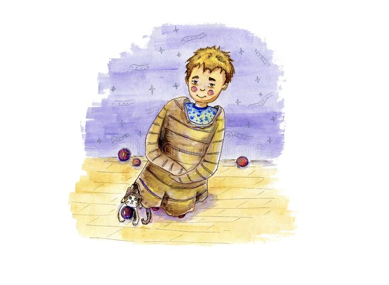 Carattere sveglio del ragazzo dell'acquerello con il suo gatto che gioca le palle di Natale illustrazione di stock