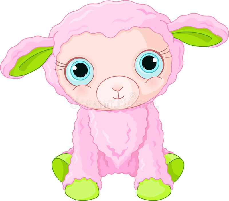 Carattere sveglio dell'agnello illustrazione vettoriale