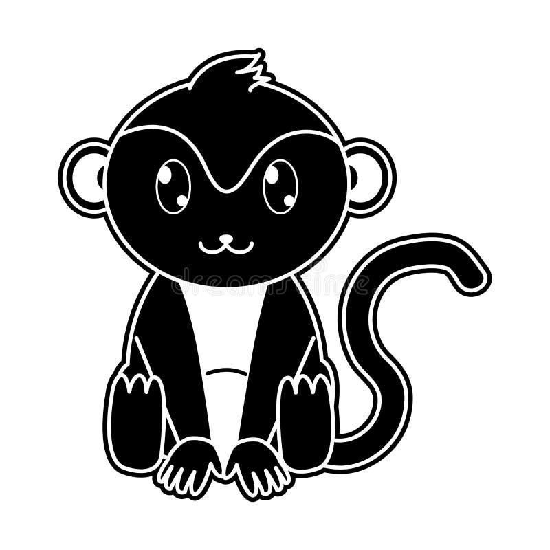 Carattere sveglio dell'animale selvatico della scimmia della siluetta illustrazione vettoriale