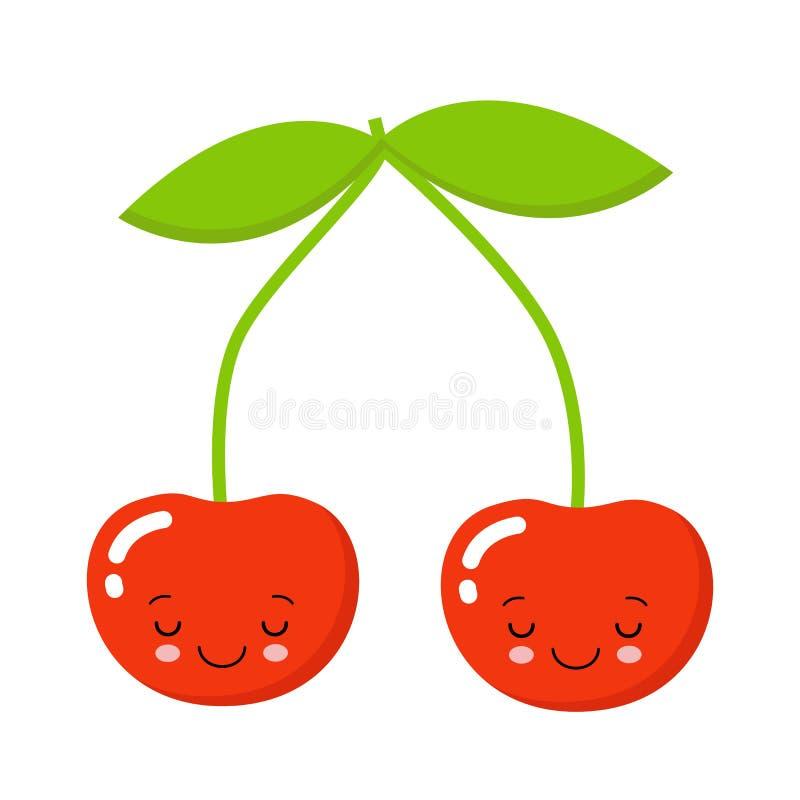 Carattere sveglio della ciliegia, illustrazione di vettore del fumetto della ciliegia Carattere sveglio di vettore della frutta i illustrazione vettoriale