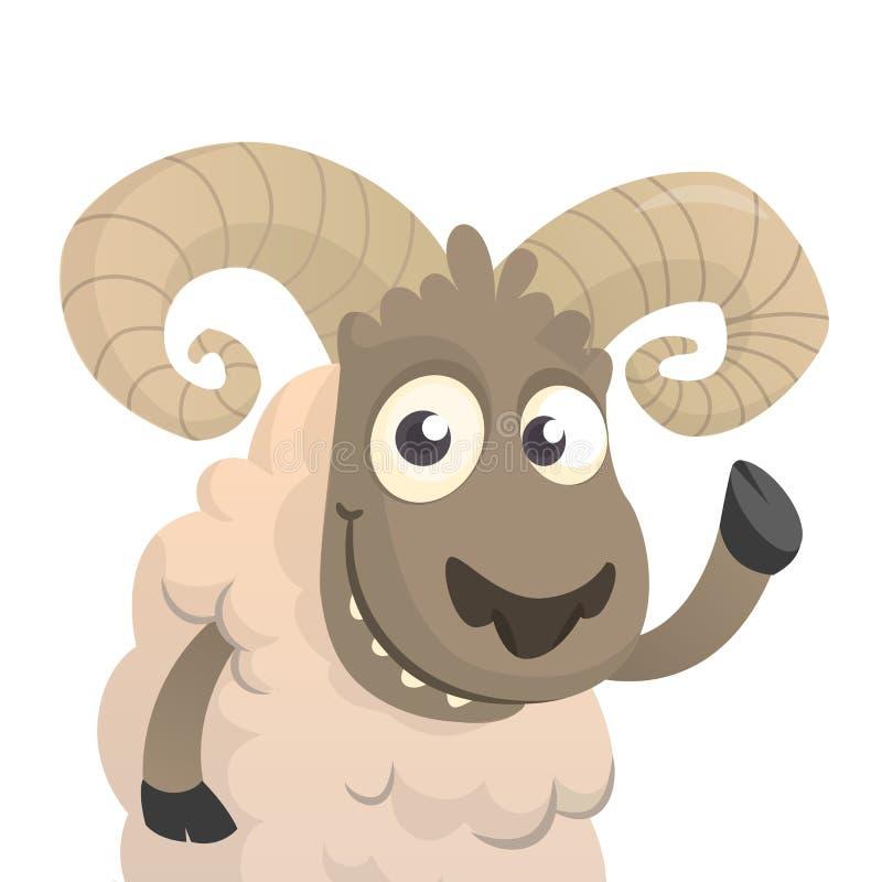 Carattere sveglio delle pecore del fumetto Illustrazione di vettore della mano d'ondeggiamento dell'agnello lanuginoso Isolato su royalty illustrazione gratis