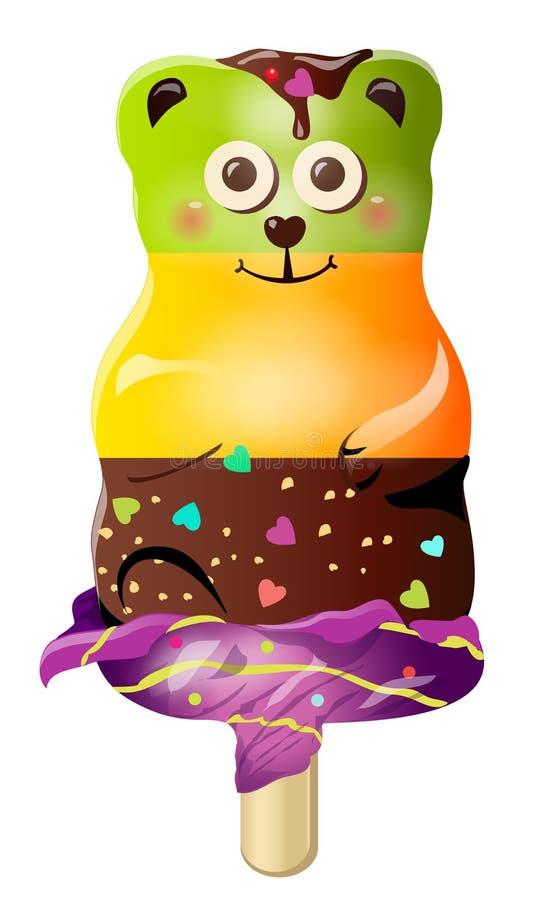 Carattere sveglio dolce dell'orso del gelato della caramella del fumetto di divertimento Vector l'illustrazione, clipart, isolato illustrazione vettoriale