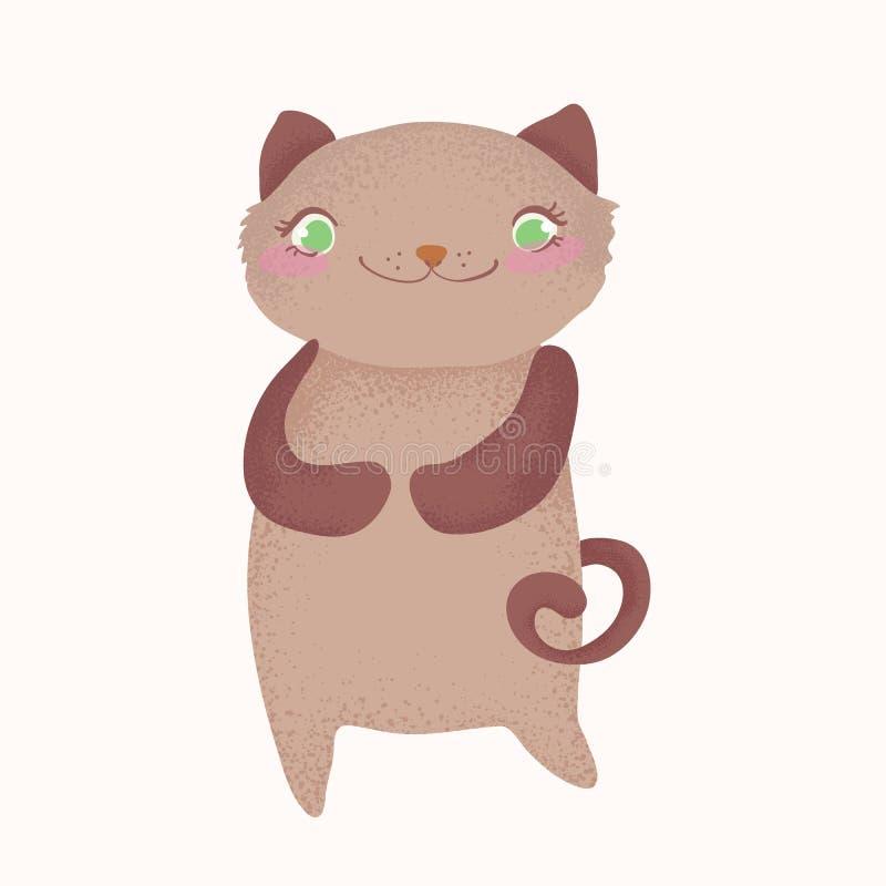Carattere sveglio e divertente del gatto del fumetto, illustrazione del fumetto illustrazione di stock