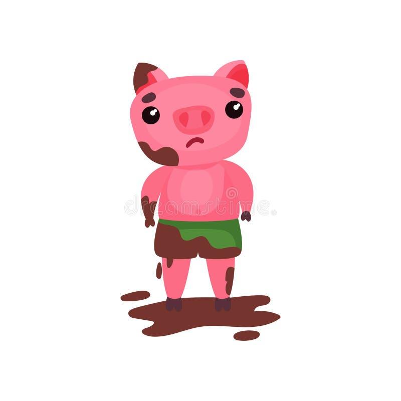 Carattere triste sveglio del maiale che sta in una pozza di fango, illustrazione animale di vettore di porcellino divertente del  royalty illustrazione gratis
