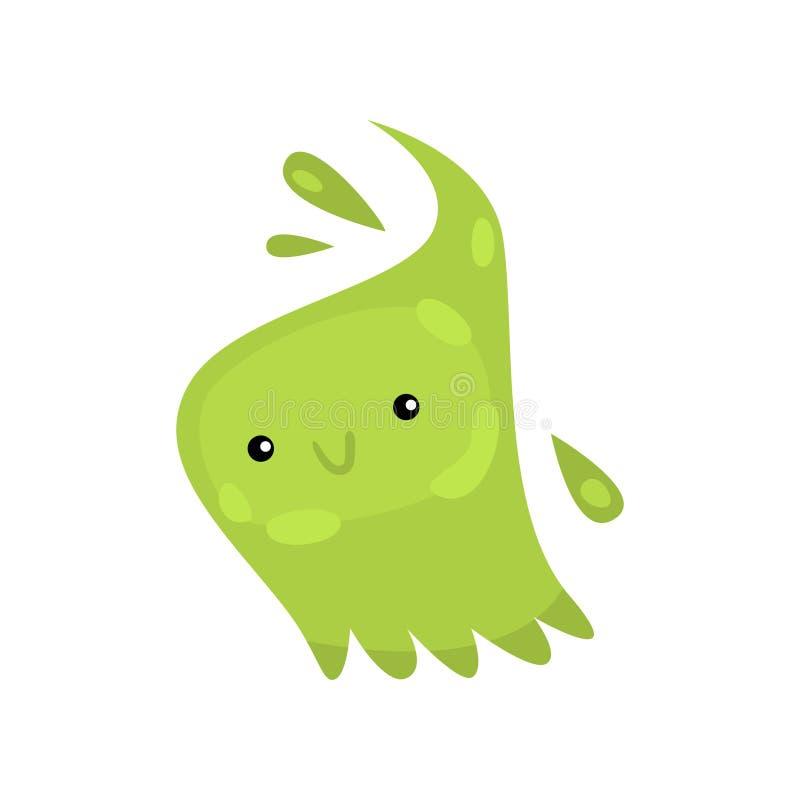 Carattere verde dell'emoticon dei batteri o dei virus dell'infezione o della malattia in microbiologia contro bianco illustrazione di stock