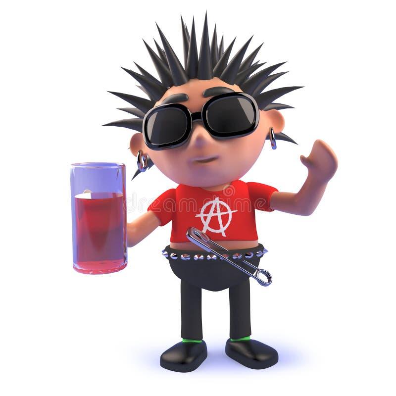 carattere vizioso dell'attuatore punk del fumetto 3d in 3d che beve una pinta di lager illustrazione vettoriale