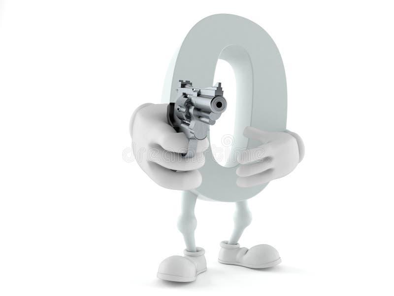 Carattere zero che tende una pistola royalty illustrazione gratis