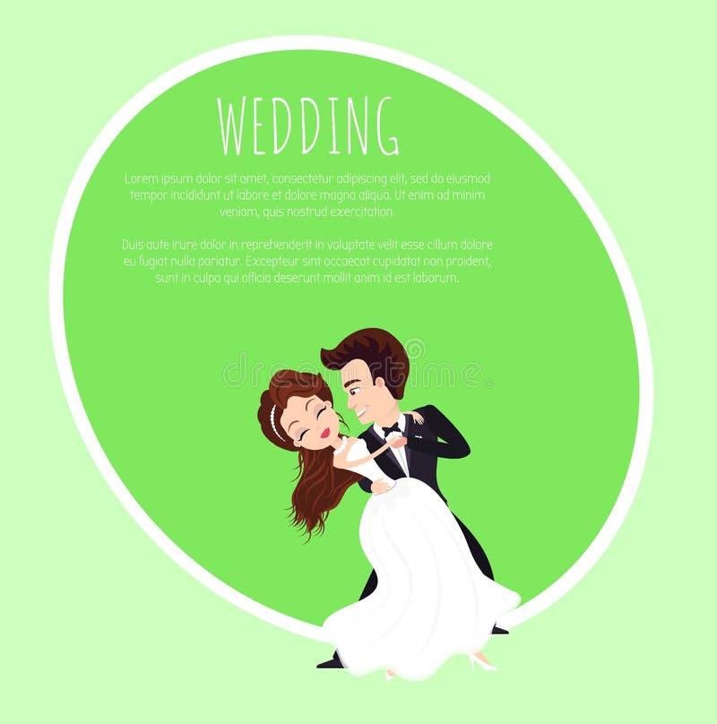 Caratteri ballanti della sposa e dello sposo, vettore di nozze illustrazione di stock