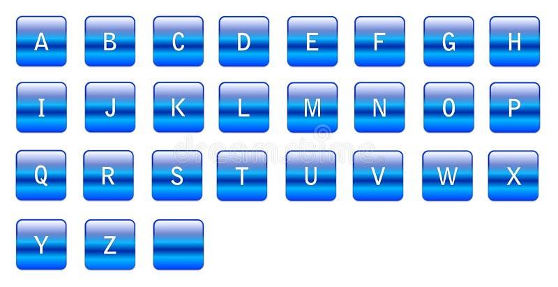 Caratteri blu alfabetici illustrazione di stock