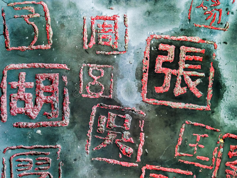 Caratteri cinesi, cognome fotografie stock libere da diritti