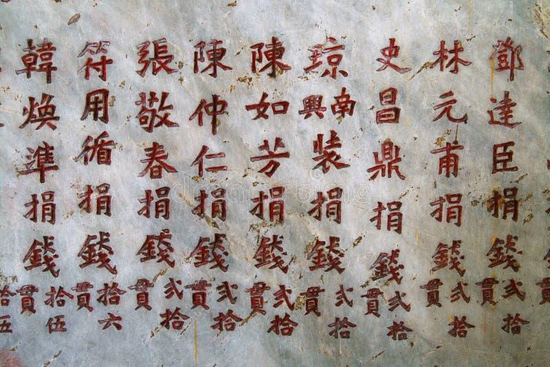 Caratteri cinesi intagliati immagini stock