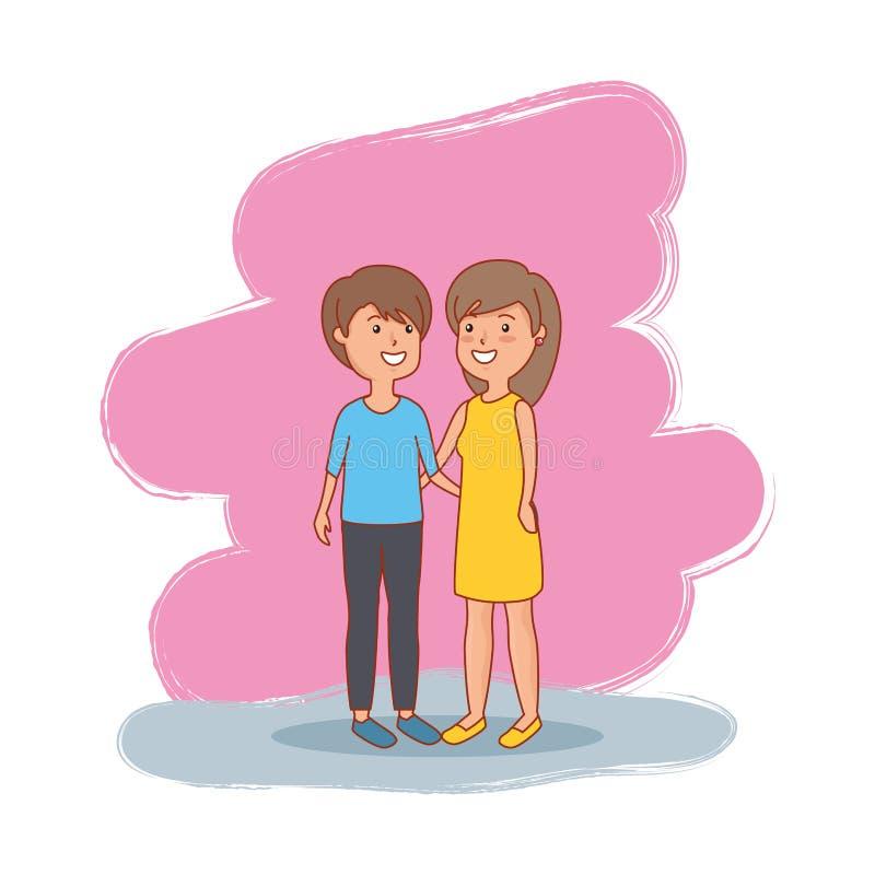 Caratteri degli avatar degli amanti delle coppie illustrazione di stock