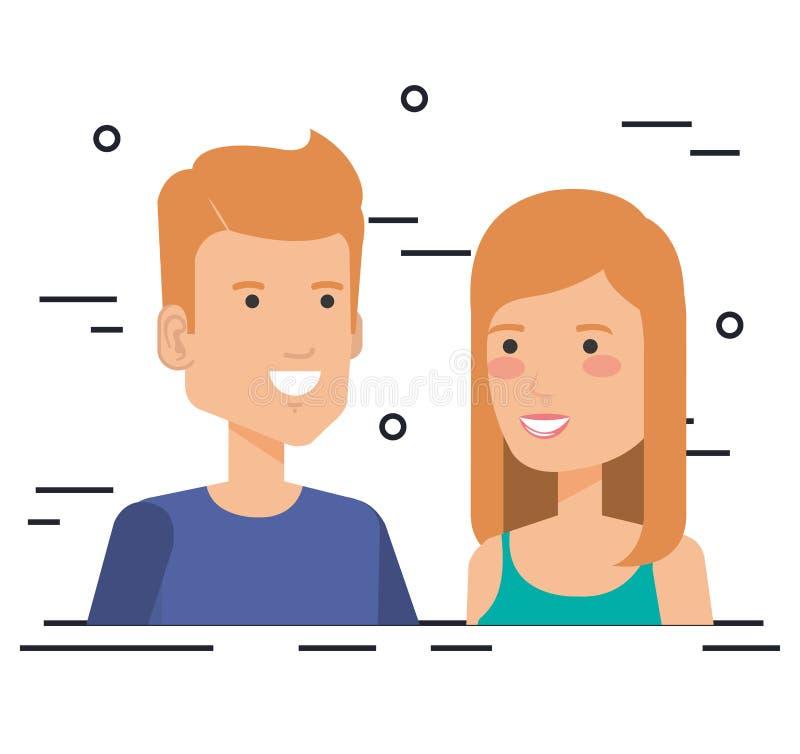 Caratteri degli avatar delle coppie degli amanti royalty illustrazione gratis