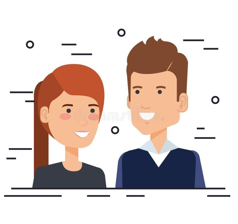 Caratteri degli avatar delle coppie degli amanti illustrazione vettoriale