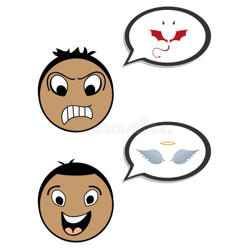 Caratteri degli impiegati di concetto dell'uomo d'affari del diavolo e di angelo Buon e difettoso Illustrazione piana del fumetto illustrazione vettoriale