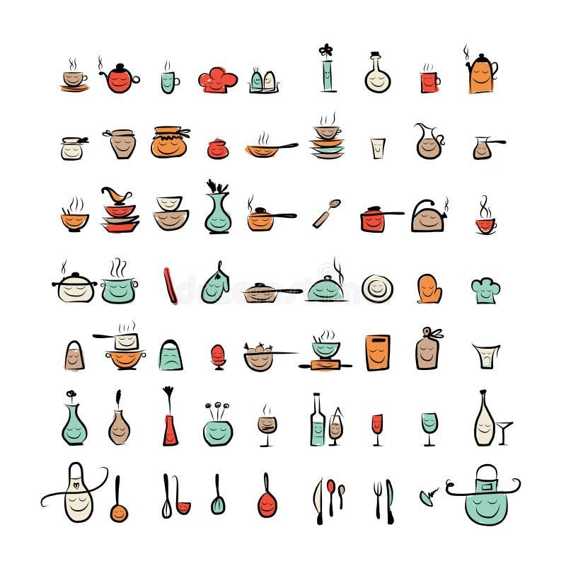 Caratteri degli utensili della cucina icone del disegno for Utensili cucina