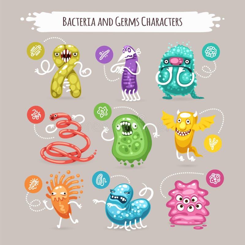 Caratteri dei germi e dei batteri messi royalty illustrazione gratis