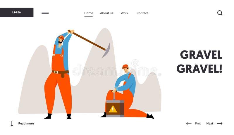 Caratteri dei minatori alla pagina di atterraggio del sito Web del lavoro Lavoratori in uniforme con carbone o i minerali di estr illustrazione vettoriale