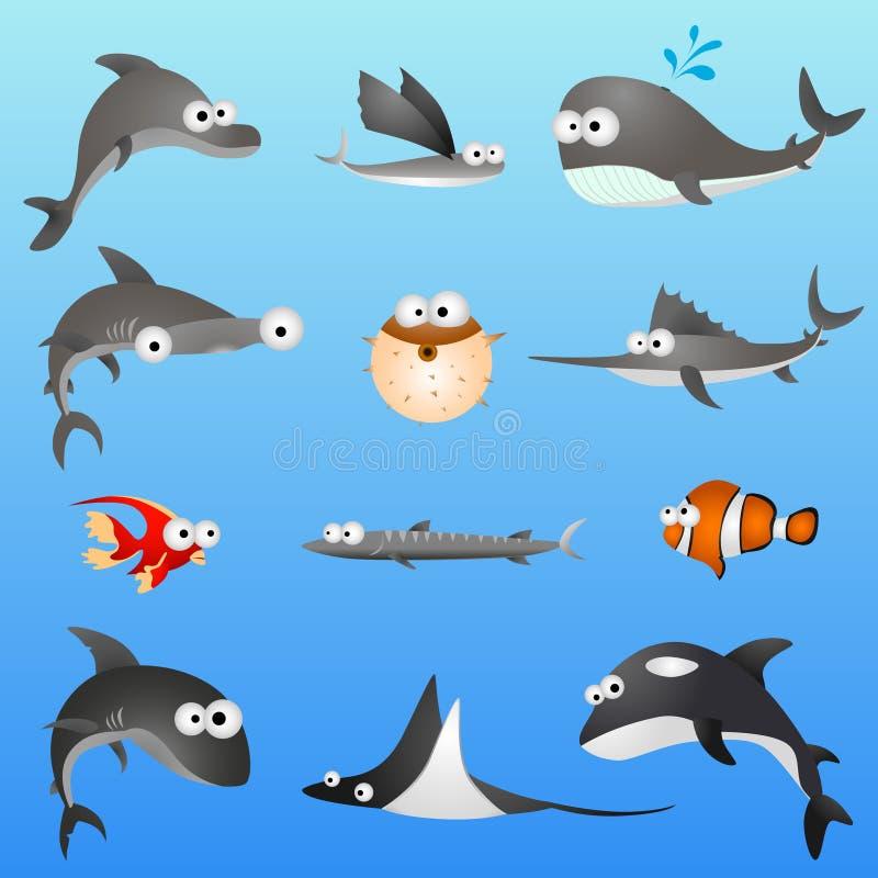 Caratteri dei pesci del fumetto illustrazione vettoriale