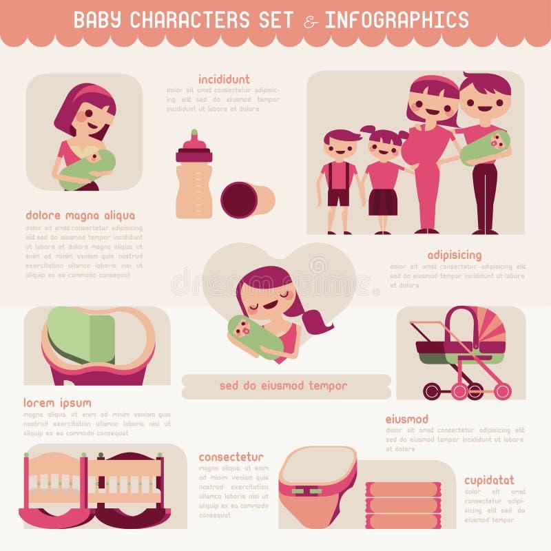 Caratteri del bambino messi e infographic royalty illustrazione gratis