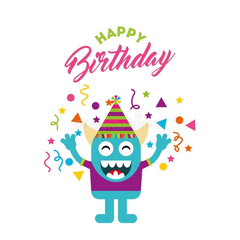 Caratteri del mostro nella festa di compleanno illustrazione vettoriale