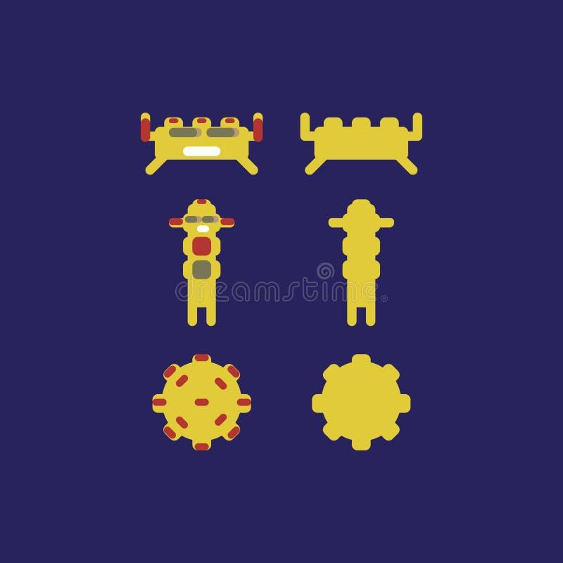 Caratteri del mostro per il gioco o i manifesti di app del gioco robot app fotografia stock